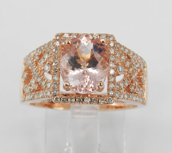 2.50 ct Morganite and Diamond Halo Engagement Ring 14K Rose Gold Size 7
