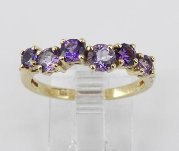 Amethyst Wedding Ring Anniversary Band Yellow Gold Size 7 February Birthstone