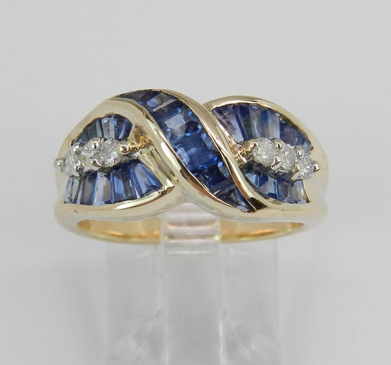 14K Yellow Gold Diamond and Sapphire Wedding Ring Anniversary Band Size 6.5 September Gem