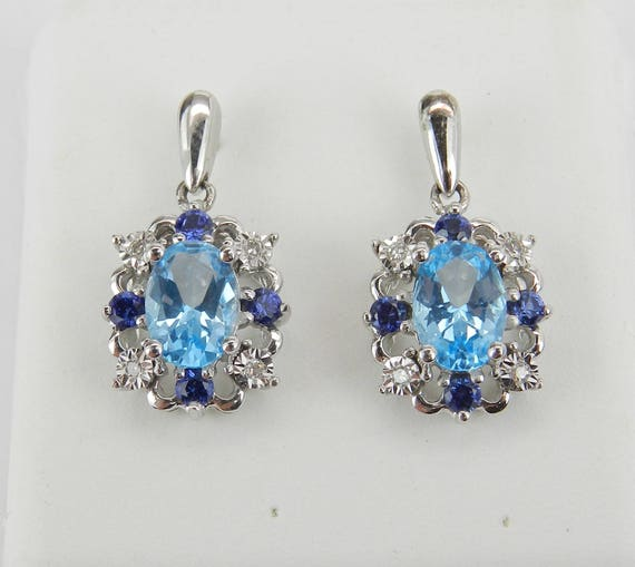White Gold Blue Topaz Sapphire Diamond Drop Earrings Wedding Gift December Gemstone