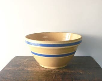 Vintage Yellow Ware Bowl #77, Blue Striped Yellow Ware