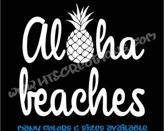 Aloha Beaches Pineapple Hawaii Hawaiian Vinyl Decal Laptop Car Boat Mirror Truck Surfboard Mirror Vanity Beach VALOHABEACHES2