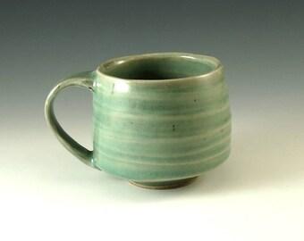Pottery Coffee Mug - Handmade Ceramic Mug - Large Mug - Coffee Cup - Tea Cup - Wheel Thrown Pottery - 16 oz in Celedon Green - M229