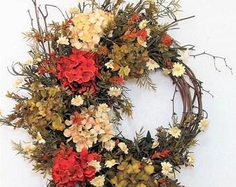 WREATH SALE Large Hydrangea Wreath - Summer Wreath - Rustic Farmhouse Door Decor -  READY To Ship - Home Decor - Hydrangea Wreath - Floral W