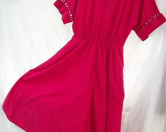 Stunning Pink Day Dress ~ Cut Out Sleeve Detail ~ Vibrant Tone 100% Cotton ~ USA ~ Doleman Sleeves