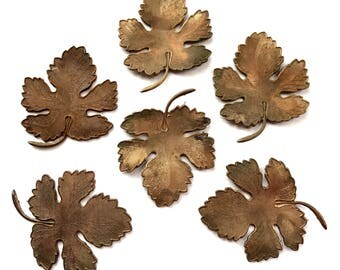 Vintage Leaf Stampings, 6 Pieces, Tree Leaf Stampings, Jewelry Making, Patina Brass, Vintage Supplies, B'sue Boutiques, 47x38mm, Item03231