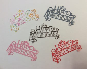 Handmade, Happy Anniversary, Pink, Black and White Chevron, White w/Flowers, Red Polka Dots, Gray, Cards, Die Cuts