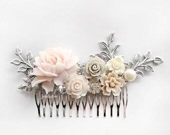 Bridal Hair Comb, Blush Pink, Grey, Beige, Silver Wedding Hair Pin, Pastel Headpiece, Bride, White, Powder Pink Flower Hair Slide