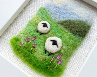 A felted and hand embroidered sheep miniature landscape - original artwork