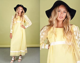 60s Pastel Yellow Embroidered Maxi Vintage Bohemian Long Dress