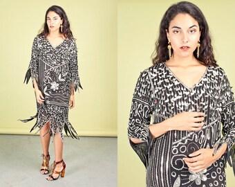 80s Black Silver Art Deco Dress Vintage Sequin Long Dress
