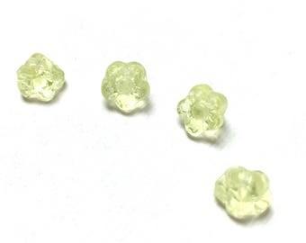 Czech Glass Flower Button Beads. Jonquil. Flower Drops. Cool. Spring. Victorian. 7mm. Twenty-Five (25).