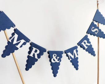 MR & MRS Wedding Cake Bunting Topper - Navy Blue and White