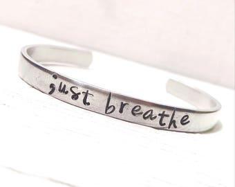 Just Breathe Bracelet, Breathe Bracelet, Semi Colon Bracelet, Yoga Bracelet, Hand Stamped Bracelet, Skinny Stacking Cuff