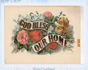 Americana Currier & Ives Vintage Lithograph Print God Bless Our Home God Bless Our School Paper Ephemera Book Page z62-63
