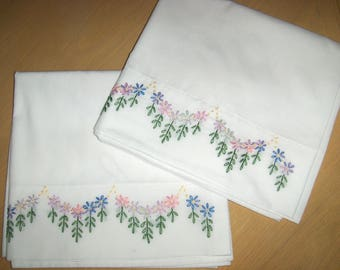 King  Size, Hand Embroidered  Floral Pillowcases