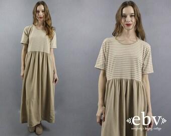 T Shirt Dress Striped Dress 90s Dress 90s Maxi Dress 1990s Dress Beige Dress Tee Dress Normcore Dress Striped Tee Dress S M L