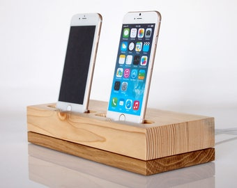 iPhone dual docking station - iPhone 6 dock / iPhone 6 plus charging station / iPhone 7 dock / iPhone 7 plus charging station