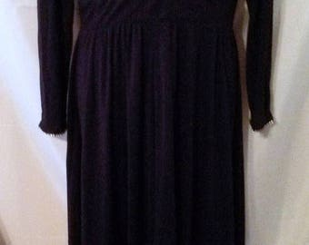 """SUMMER CLEARANCE SALE 70s Vintage Black Palazzo Pants Maxi Dress-Jumpsuit-Size 10-Medium-40"""" Bust-Mary Martin-Chic Elegant Holiday Evening P"""