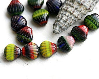 Multicolored Shell beads, Czech Glass 9mm dark seashells, DIY beach jewelry, nautical beads - 20Pc - 2311