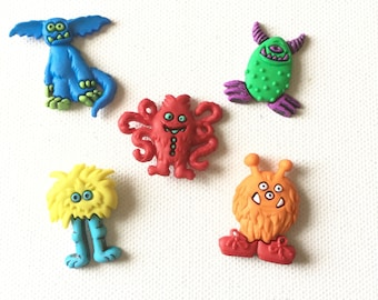 Monster Magnets, Freaky Monsters, Cute Monster magnets, Halloween Monster Magnets, Refrigerator Fridge Magnets, Thumbtacks, Pushpins
