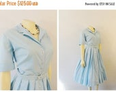 MOVING SALE Vintage Dress 50s Rockabilly Georgia Griffin Fashions Sky Blue Shirtwaist Dress Triple Pleated Skirt Matching Belt Modern Medium