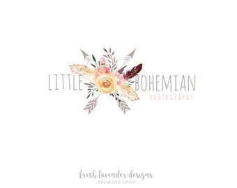 Custom Logo, Bohemian Logo, Premade Logo with Arrows, Watercolor Logo, Boho Logo, Floral Business Logo, Watermark