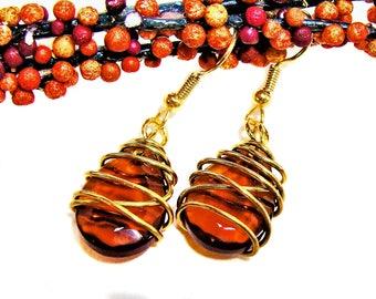 Gold Wire Wrapped Glass Dark Topaz Teardrop Dangle Earrings  #topazearring #wirewrap #goldwire #autumnearring #giftsforher #teardropearrings