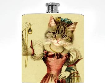 Cat Flask Kitty Drinking Gifts Womens Flask Geekery Victorian college girl Hip Flask Girlfriend Cat Lover Kitten Stuff