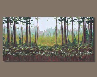 abstract painting, forest painting, landscape painting, green, lush, English garden, impressionist landscape, small art, panoramic painting
