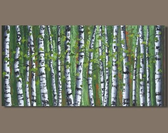 FREE SHIP abstract painting, birch trees painting, panoramic painting, forest painting, landscape painting, art on canvas, aspens, green