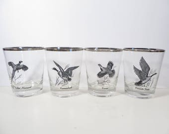 Set of 4 Game Birds Cocktail Glasses - Vintage Double Old Fashioned Bar Glasses