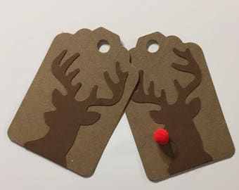 10 Gift Tags Deer Gift Tags Reindeer Rudolph the Red Nosed Reindeer