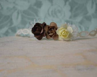 Triple Botanical Headband...Dainty Flowers...Newborn Photography Prop...Flower Headband...Brown and Butter Yellow...