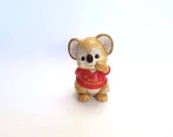 "Adorable OMC Japan Gibson Koala Bear Piggy Bank ""Keep Smiling"" Ceramic Red Sweater Piggy Bank Hand Painted Otagiri Mercantile Company"