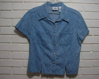 Vtg light denim cropped shirt size 14P