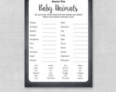 Printable Chalkboard Baby Shower Game Name The Baby Animal, Name The Baby Animals Game, Baby Animal Match, Gender Neutral