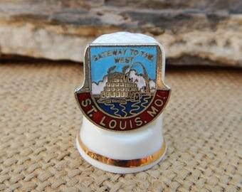St. Louis Missouri Thimble  ~  St. Louis Missouri Souvenir Item  ~  St. Louis Missouri Gateway to the West Fine Bone China Thimble