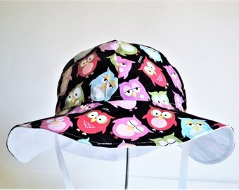 Owl Baby Sun Hat, Wide Brim Summer Hat, Cotton Sun Hat, Newborn Hat, Floppy Beach Hat, Toddler Hat, Girl Clothes, Infant, Made to Order