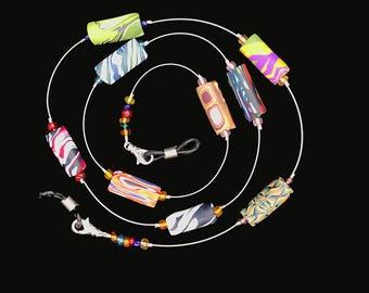 Eyeglass Chain Multi-color Barrel Polymer Clay Beads 440
