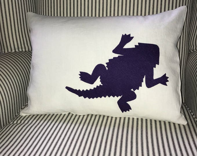 100% Washed French Linen White Linen TCU Horned Frog Pillow 12x16 Pillow Cover Purple Applique