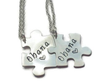 SALE OHANA NECKLACES, Sterling Silver Hand Stamped Puzzle Piece Necklaces, Family, Best Friends, No One Gets Left Behind