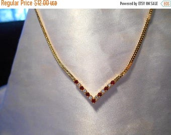 50% Off Sale Avon Galaxy of Color Collection Chevron Necklace in Red and Clear Crystal Rhinestones