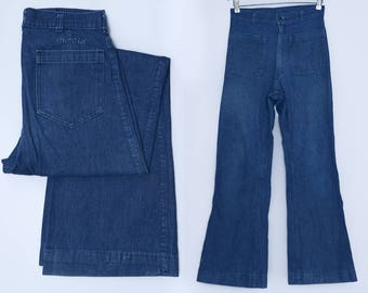70s Sailor Jeans Navy High Waisted Dark Denim Elephant Bell Bottom Hippie Utility Jeans