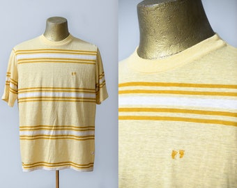 70s Hang Ten Striped T Shirt Hawaiian Footprints Yellow Striped Surf Tee