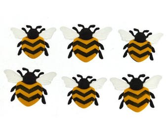 Bee Happy Novelty Buttons - Set of 6 Bees Insects - Yellow Black Bumble Bee Shape Button