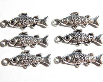 10X28mm Antique Silver Fish Charm Pendants, 6 PC (INDOC327)