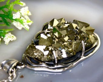 Pyrite Pendant Iron Pyrite Crystal Statement Necklace Sterling Silver Jewelry