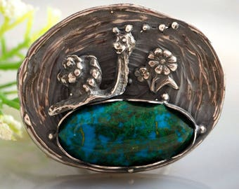 Chrysocolla Ring Fairy Snail Ring Sterling Silver Jewelry