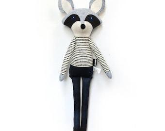 Oliver Raccoon - Softie, plush doll, heirloom, animal doll, nursery decor, toy